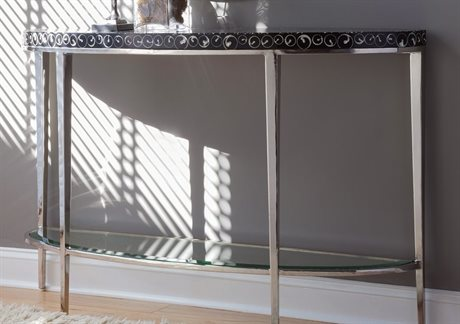 Artistica Mariana Black / Polished 54'' Wide Demilune Console Table