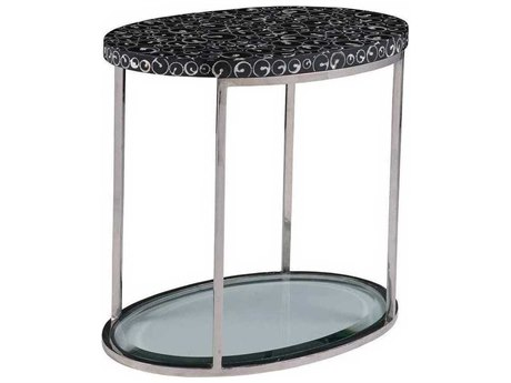 Artistica Mariana Black / Polished 24'' Wide Oval End Table