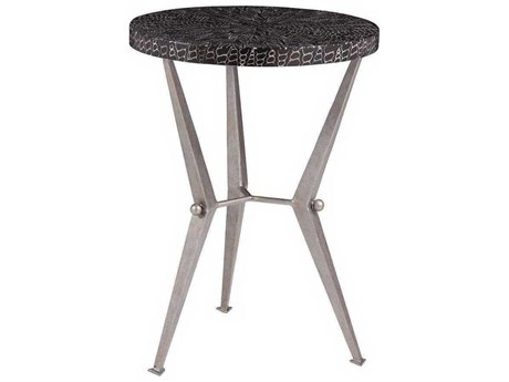 Artistica Mindoro Black / Warm Silver Antiqued 16'' Wide Round End Table