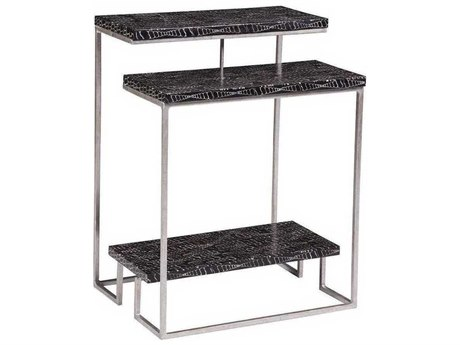 Artistica Mindoro Black / Warm Silver Antiqued 18'' Wide Rectangular End Table
