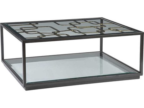 Artistica Home Moxie Antique Black with Glazed Gold Foil 48''L x 36''W Rectangular Cocktail Table