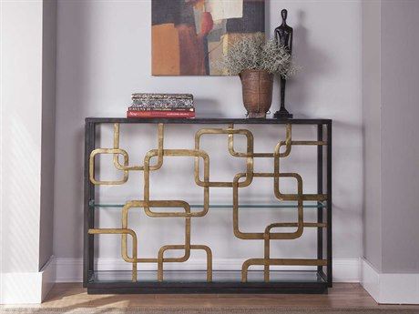 Artistica Home Moxie Antique Black with Glazed Gold Foil 48''L x 12''W x 34''H Rectangular Console Table ATS2051966C