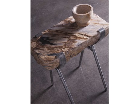 Artistica Home Peck Petrified Wood with Antique Iron 16''L x 10''W End Table ATS2035955