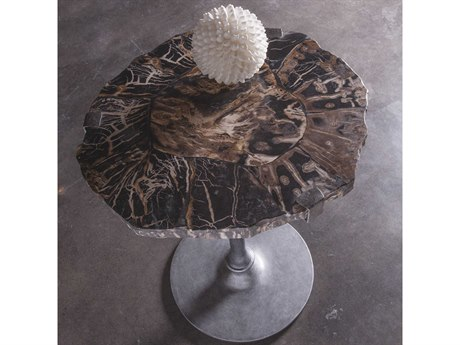 Artistica Home Peck Petrified Wood & Gold Leaf with Antique Iron 20'' Wide Round Pedestal Table