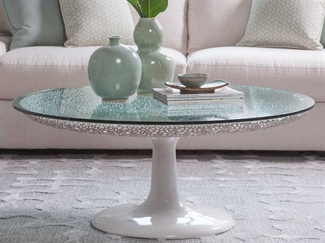 Artistica Home Seascape White Lacquer 42'' Wide Round Cocktail Table ATS2074943C