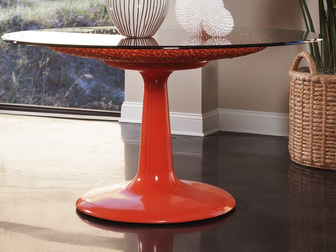 Artistica Seascape Orange Lacquer 56 Wide Round Dining Table Ats207387056c