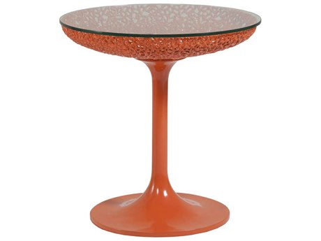 Artistica Home Seascape Orange Lacquer 20'' Wide Round Pedestal Table ATS2073950C