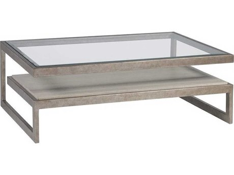 Artistica Soiree Antiqued Silver Leaf / Light Gray 48'' Wide Rectangular Coffee Table