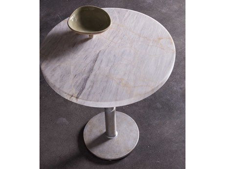 Artistica Home Spire Century Marble with Antique Iron 18'' Wide Round Pedestal Table