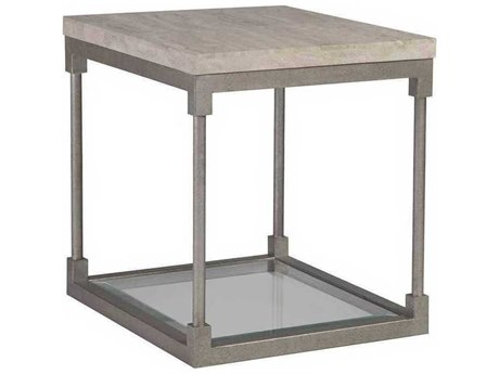 Artistica Topa Antiqued Silver Leaf 26'' Wide Rectangular End Table