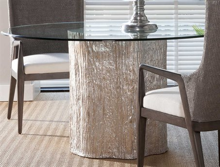 Artistica Home Trunk Segment White Fossilized Shell with Silver Leaf 56'' Wide Round Dining Table ATS203787056C