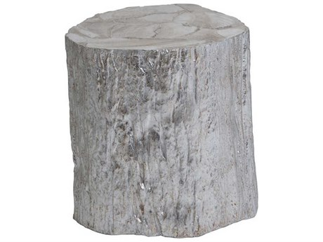Artistica Home Trunk Segment White Fossilized Shell with Silver Leaf 15''L x 14''W Drum Table