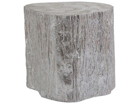 Artistica Home Trunk Segment White Fossilized Shell with Silver Leaf 19''L x 21''W Drum Table