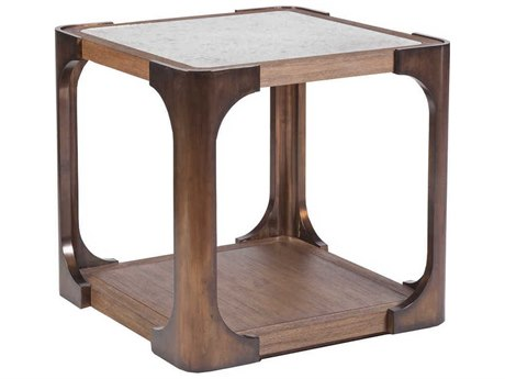 Artistica Home Tuco Antique Mirror with Mahogany and Brass 26'' Wide Square End Table