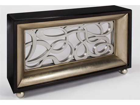 Artmax 60 x 35.5 Black Glass, Kona, Silver Leaf and Old World Gold Leaf Sideboard AMX3844D
