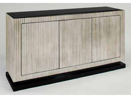 Artmax 59 x 32 Silver Leaf Fluting & Black Lacquer Accent Cabinet with Black Layered Glass Top AMX4413S1
