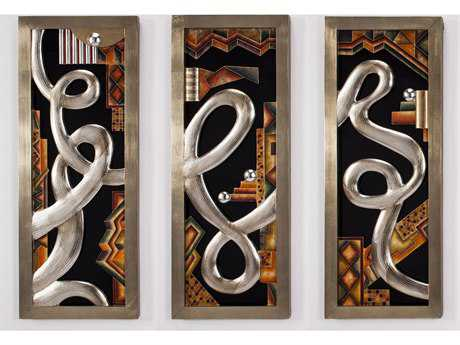 Artmax 18 x 47 Old Champagne Wash & Silver Leaf Wall Art with Black Glass Background (3 Piece Set)