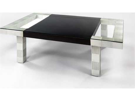 Artmax 55 x 19 Black Espresso & Silver Leaf  Coffee Table AMX1977CF