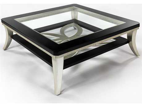 Artmax 42 x 16.5 Square Black Espresso & Silver Leaf Coffee Table AMX1980CF