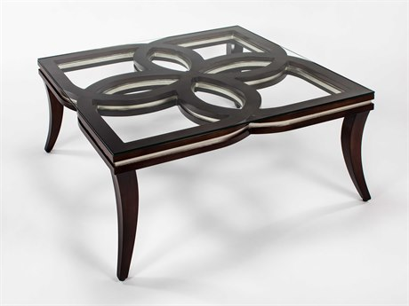 Artmax Chocolate / Silver 42'' Wide Square Coffee Table AMX1994CF