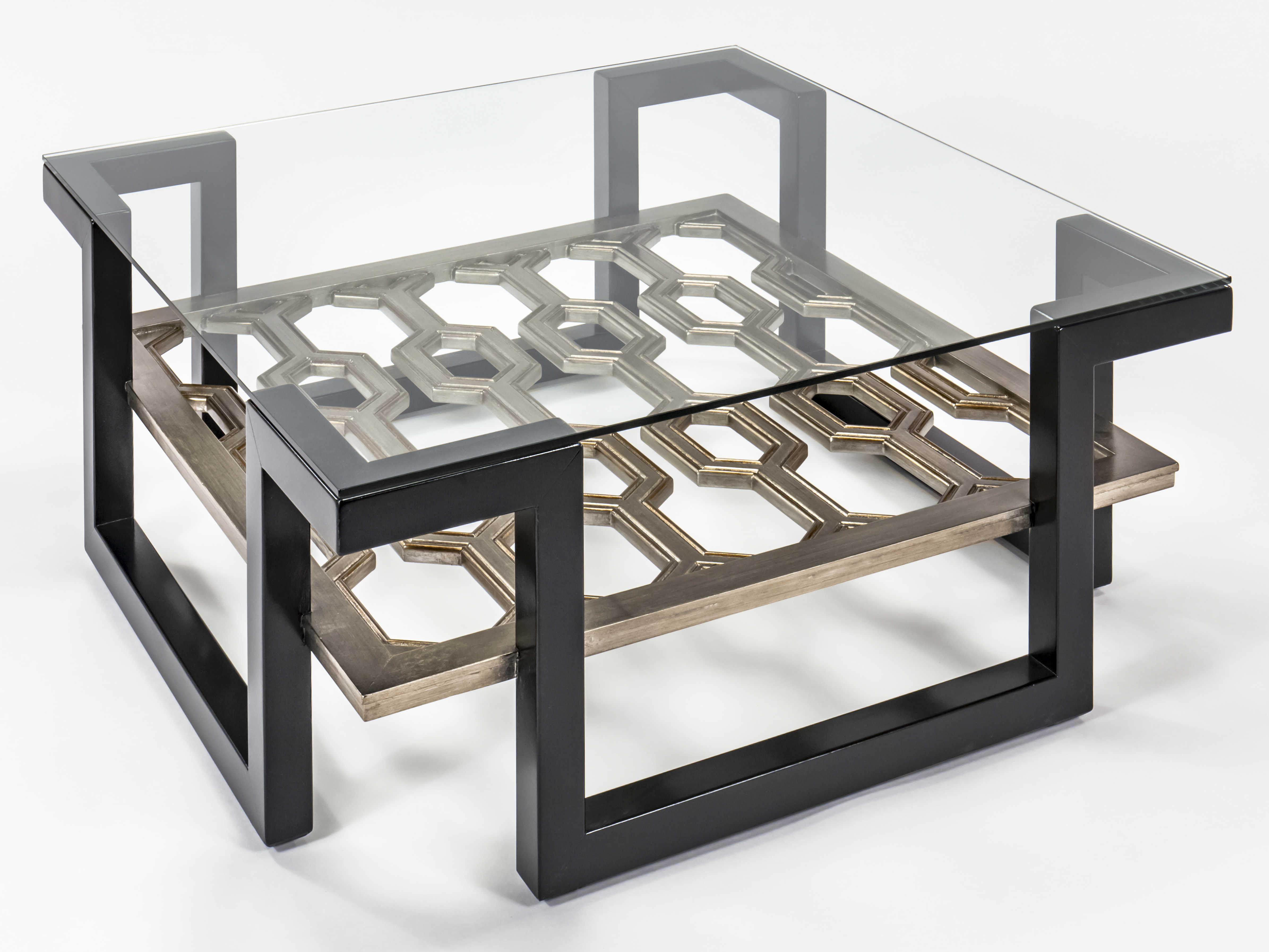 Artmax Black Old World Gold Silver 42 Wide Square Coffee Table