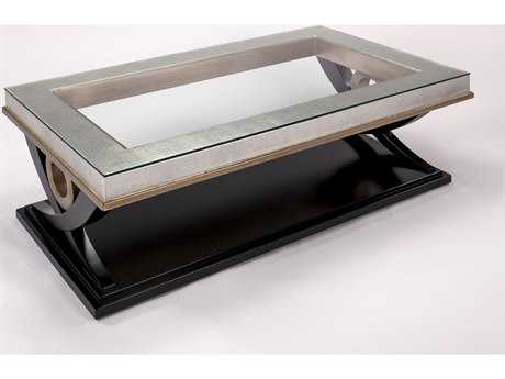 Artmax 50 x 30 Faux Gator, Old World Silver Coffee Table with Black Base & Gold Trim AMX3849CF