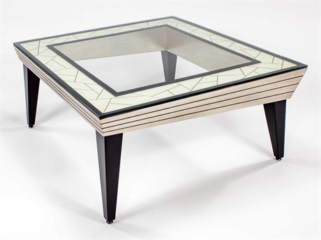 Artmax Light Antique Ivory / Dark Sable 42'' Wide Square Coffee Table AMX7842CF