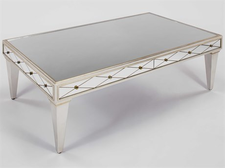 Artmax Mirror Inlaid / Brushed Matte Silver 54'' Wide Rectangular Coffee Table AMX8248CF1