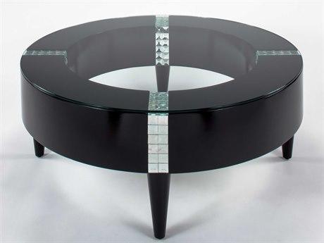 Artmax Black 42'' Wide Round Coffee Table AMXX1019CF