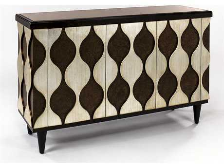 Artmax 56 x 38 Antique Silver Credenza Cabinet with Chocolate Tones AMX1976S