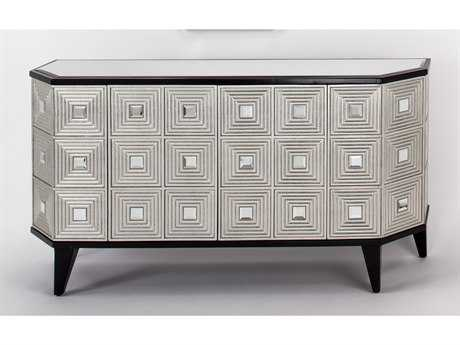 Artmax 65.5 x 36 Black Espresso & Silver Leaf Credenza Cabinet