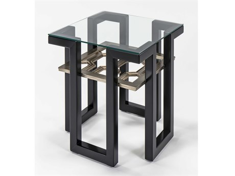 Artmax Black / Old World Gold Silver 25'' Wide Square End Table AMX2919ET