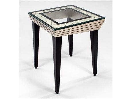 Artmax Light Antique Ivory / Dark Sable 25'' Wide Square End Table AMX7842ET
