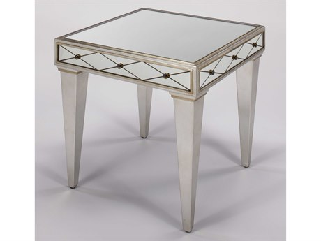 Artmax Mirror Inlaid / Brushed Matte Silver 24'' Wide Square End Table AMX8248ET