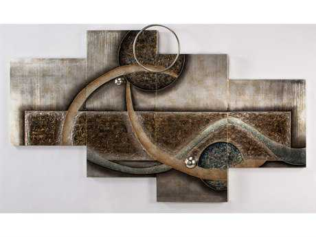 Artmax 75 x 44 Multi-Color Pattern Metal Wall Art with Worn Silver Leaf Background AMXAD1031PL