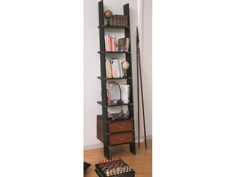 Authentic Models Furniture Library Ladder 18 x 97  Honey & Black Bookcase A2MF068