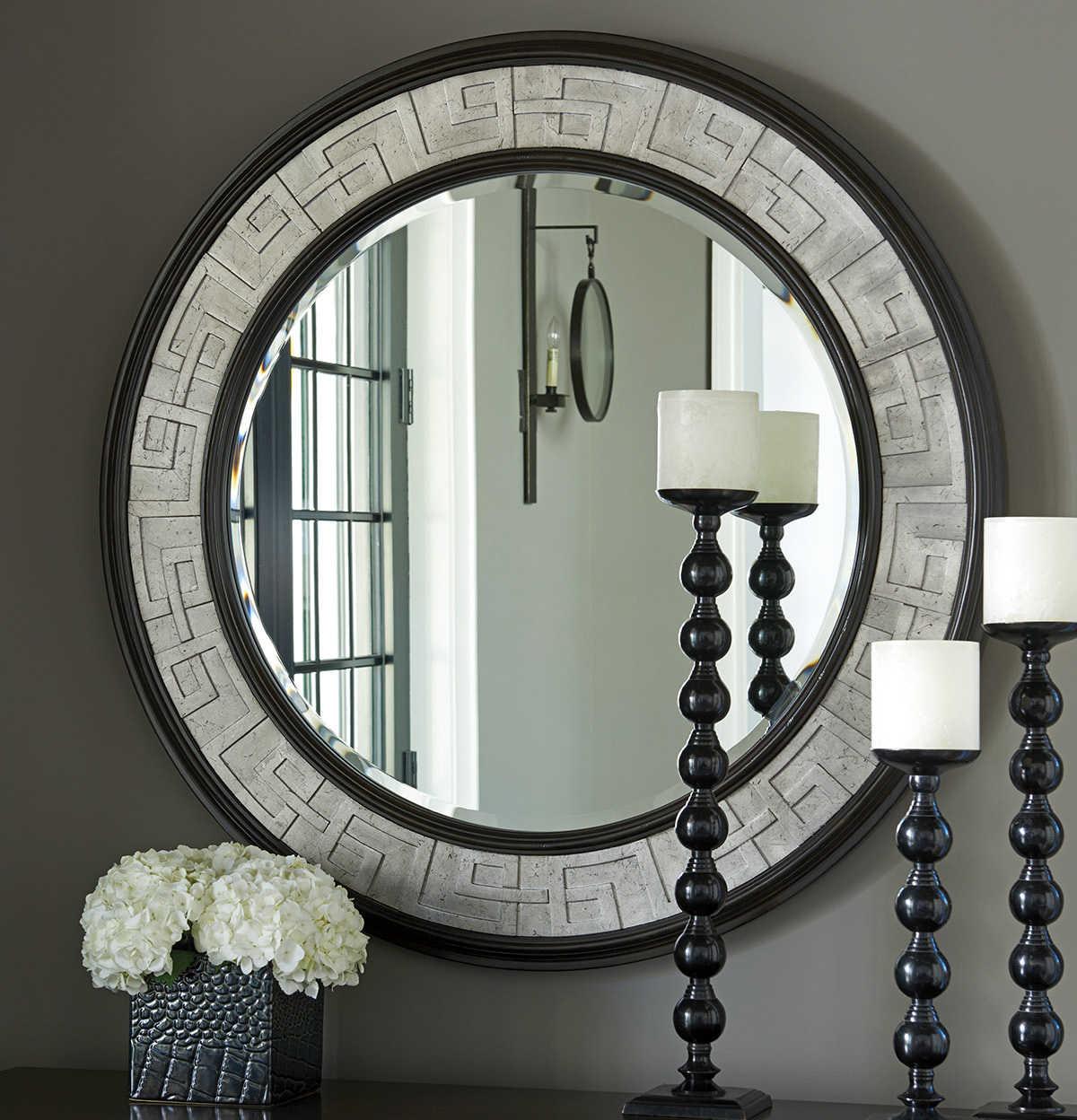 Barclay Butera Bwood Georgina Wilshire 40 Wide Round Wall Mirror
