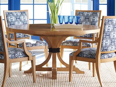 Barclay Butera Newport Magnolia Sandstone 60'' Wide Round Extendable Pedestal Dining Table BCB920875C