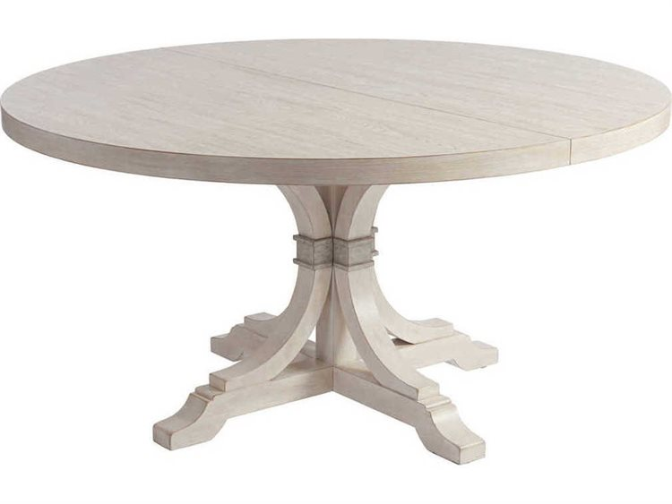 Barclay Butera Newport Magnolia Sailcloth 60 Wide Round Extendable Pedestal Dining Table Bcb921875c