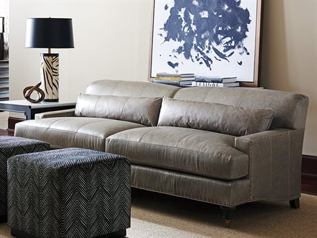 Barclay Butera Oxford Charcoal Leather Sofa (As Shown - Leather 9628-71)