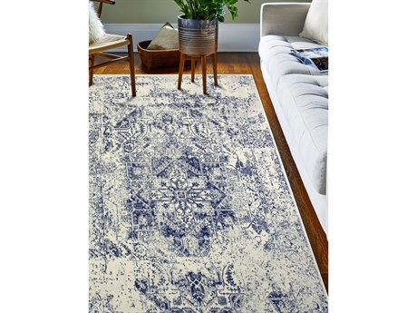 Bashian Rugs Everek Ivory & Blue Rectangular Area Rug