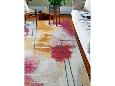 Bashian Rugs Everek Grey, Pink, Orange, Blue Rectangular Area Rug