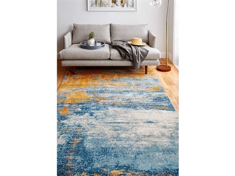 Bashian Rugs Everek Blue, Orange, Grey Rectangular Area Rug