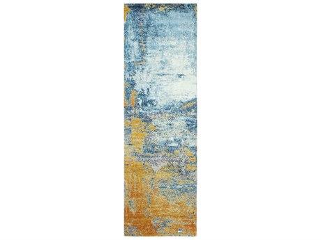 Bashian Rugs Everek Blue, Orange, Grey 2'6'' x 8' Runner Rug