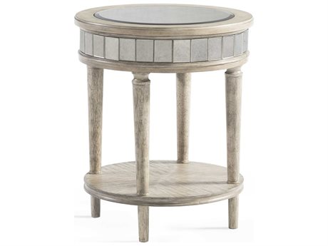 Bassett Mirror Abrielle White Peony Tea 20'' Wide Round End Table