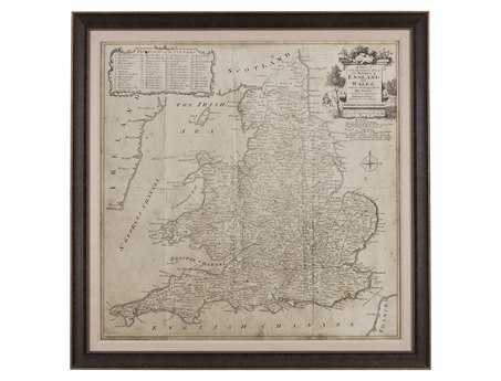 Bassett Mirror Belgian Modern Road Map of England & Wales Wall Art BA9900250EC
