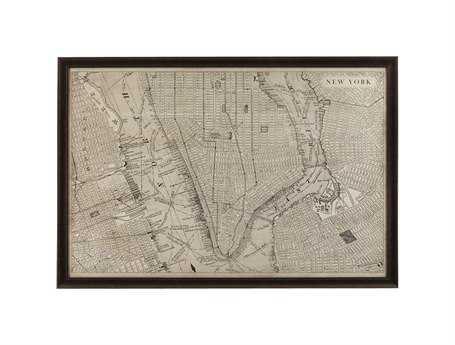 Bassett Mirror Belgian Modern Vintage Map of New York Wall Art BA9900259EC