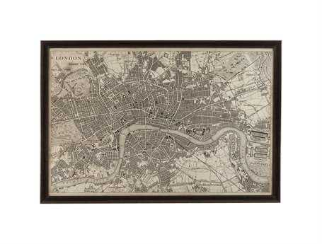 Bassett Mirror Belgian Modern Vintage Map of London Wall Art BA9900262EC