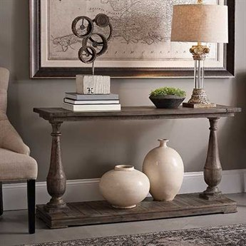 Bassett Mirror Belgian Modern 54 x 16 Rectangular Smoked Barnwood Hitchcock Console Table BAT2618400EC