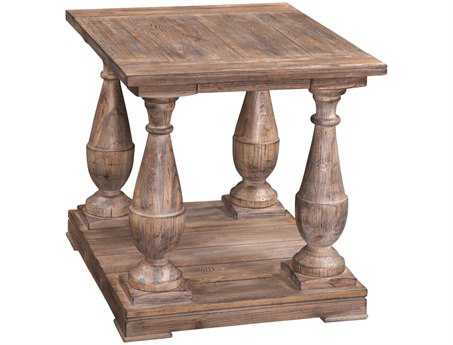 Bassett Mirror Belgian Modern 28 x 24 Rectangular Smoked Barnwood Hitchcock End Table BAT2618200EC
